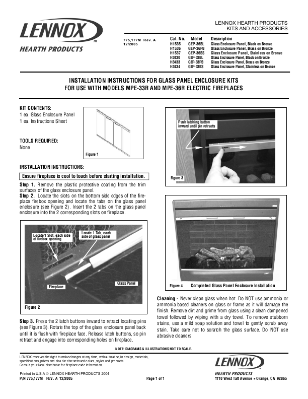 Lennox Hearth Indoor Fireplace Mpe 36r User 39 S Guide