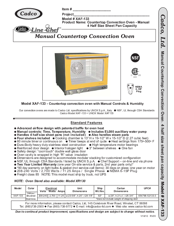 Convection Ovens Convection Oven User Manual