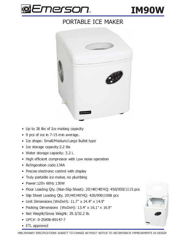 Emerson IM90/IM90W Portable Ice Maker Owners Manual ManualsOnline ...