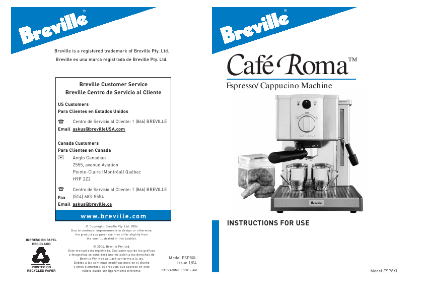 Download free Breville Cafe Roma User Manual - tbtracker