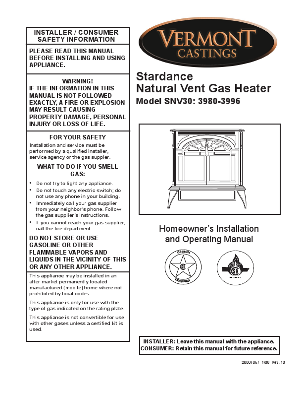 Vermont Castings Stardance Natural Vent Gas Heater Installation SNV30