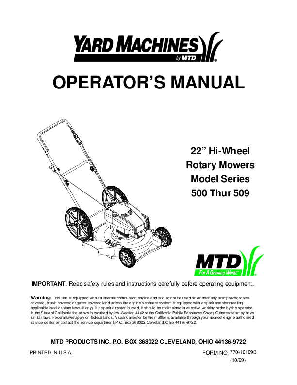 Additional Yard Machines 500 Lawn Mower Literature