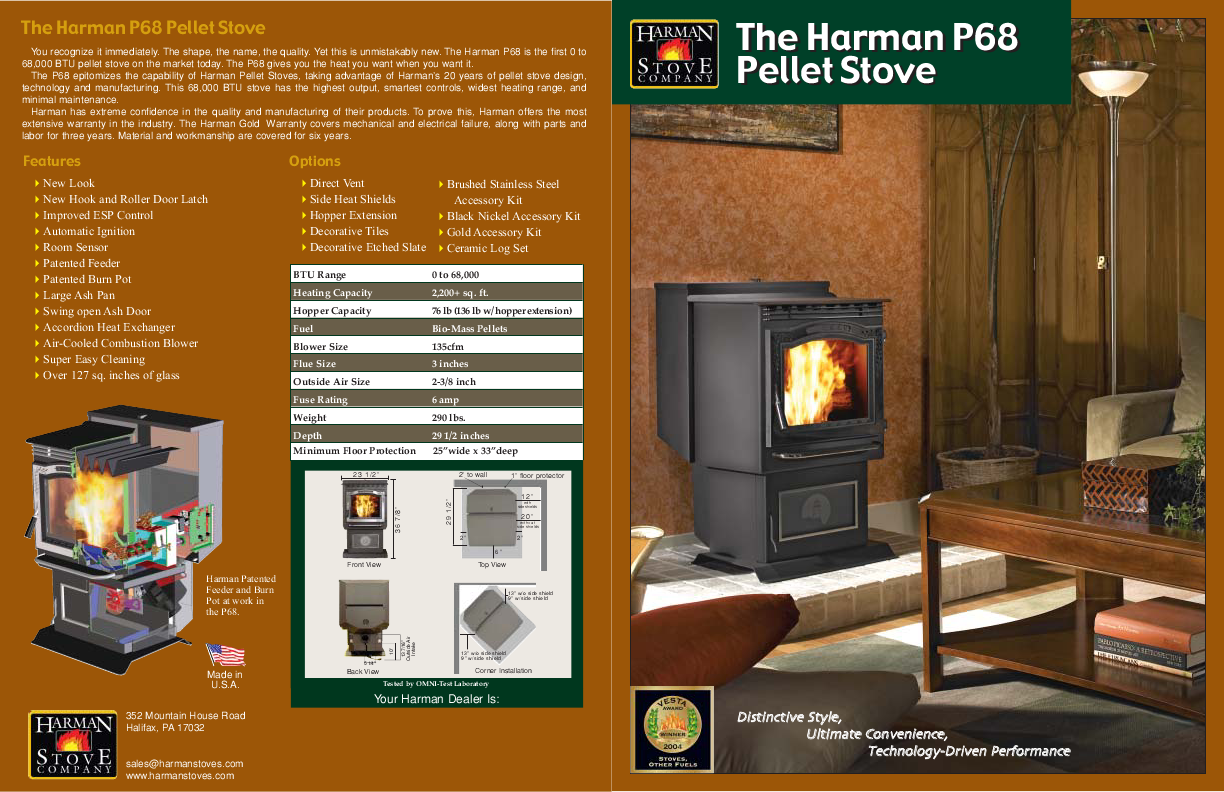 Harman Stove Company Stove P68 User S Guide