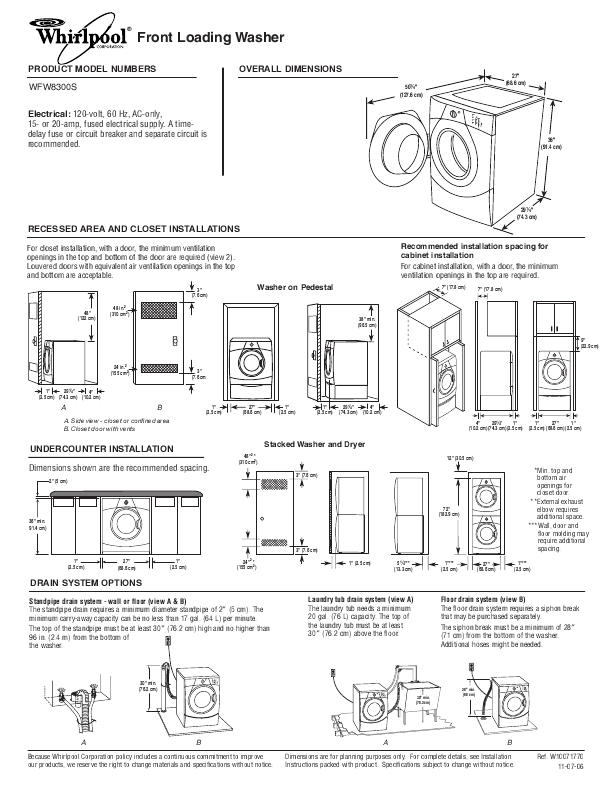stacked washer dryer closet dimensions
