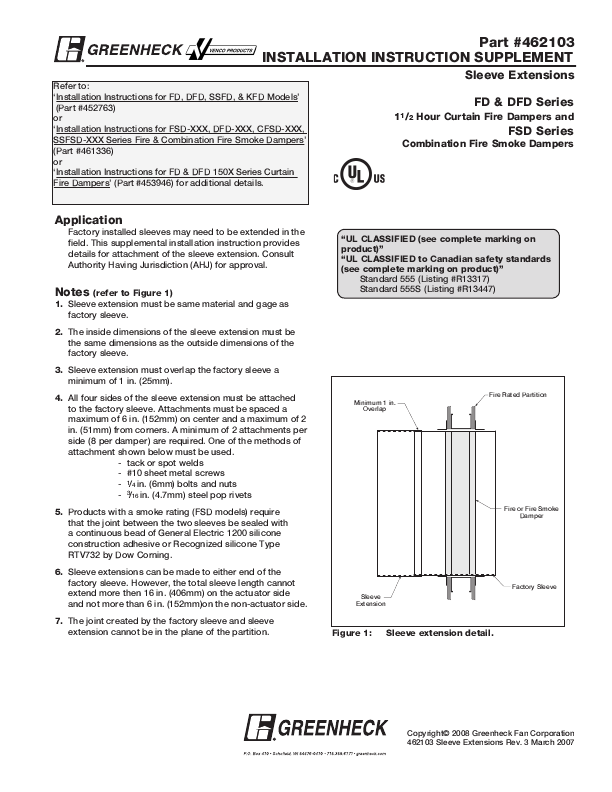 Greenheck Curtain Fire Dampers Installation Instructions