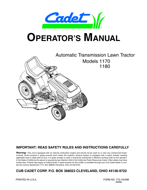 troy bilt j609 manual