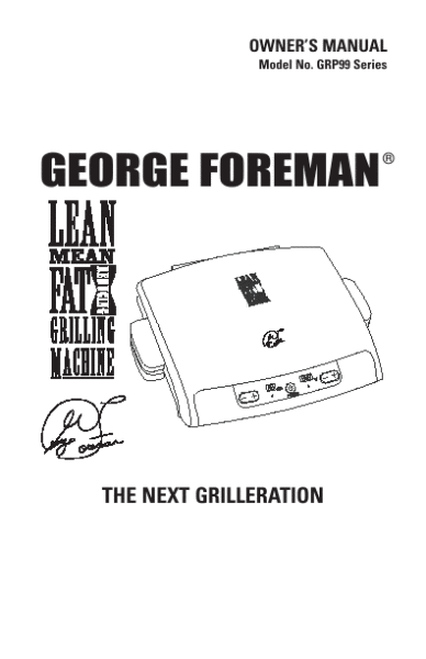 george foreman grill instruction manual