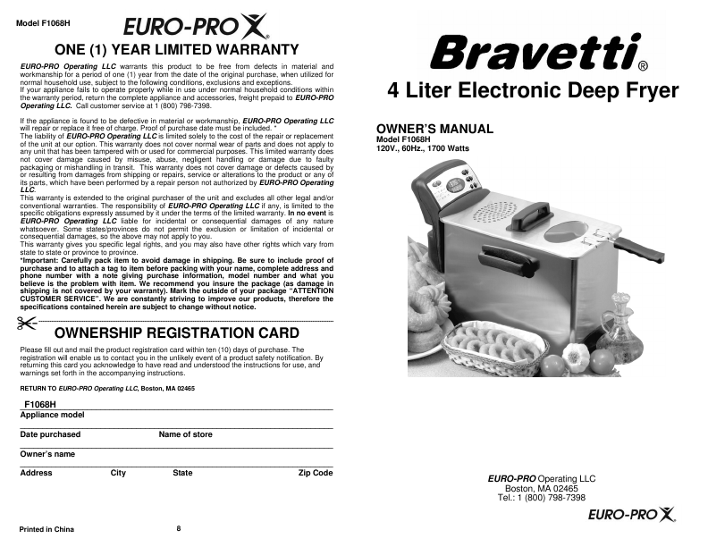 euro pro deep fryer manual