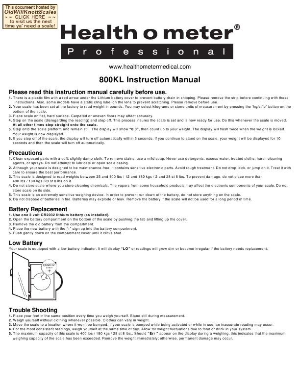Search Health O Meter Bfm883dq01 User Manuals Manualsonline