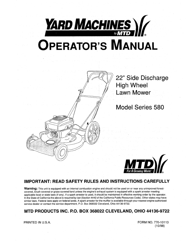 yard machine lawn mower repair manual