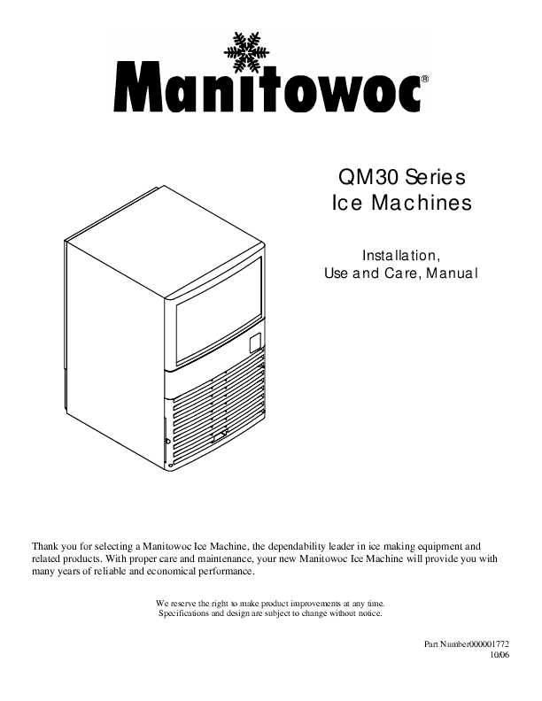 Manitowoc Ice Installation Use And Care Manual Ice Machines Qm30 Series