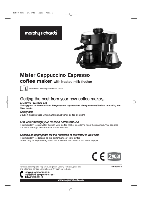 Morphy Richards Coffee Maker 47094 Instructions : Morphy Richards Coffeemaker Cappuccino Espresso coffee maker User s Guide ManualsOnline.com