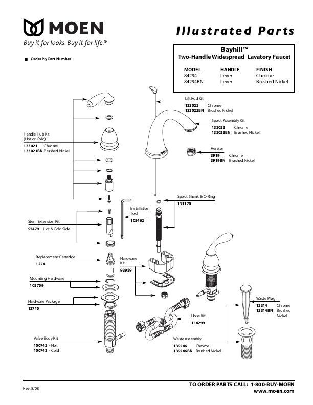 Moen Two-Handle Widespread Lavatory Faucet Illustrated Parts
