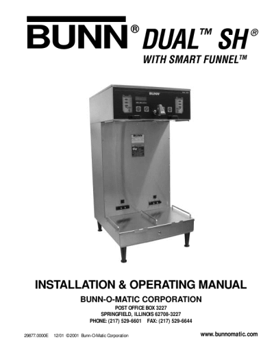 Bunn Dual Coffee Maker Manual : BUNN Coffee Grinder MHG for use with Smart Funnel INSTALLATION AND OPERATING MANUAL ...