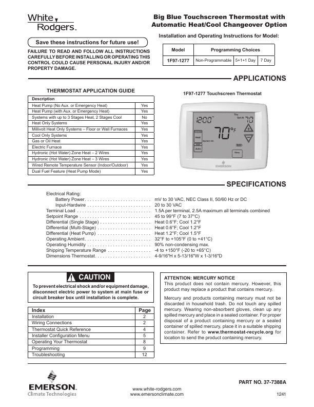 Instructions emerson thermostat