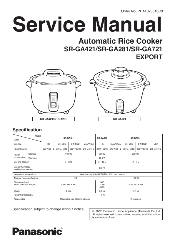 panasonic rice cooker sr ga721 user 39 s guide. Black Bedroom Furniture Sets. Home Design Ideas