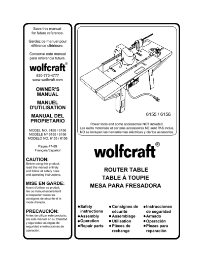 Wolfcraft Router Bits Tables:wolfcraft Router