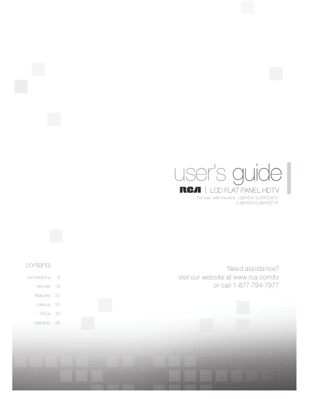rca lcd flat panel hdtv user s guide manualsonline com Haier Instruction Manual Haier Air Conditioner