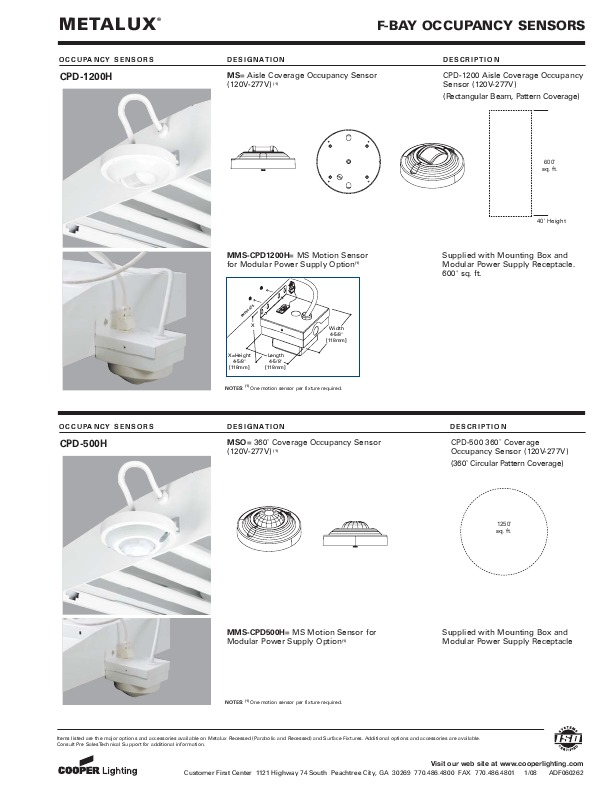 Cooper Lighting F-Bay Occupancy Sensors Specification Sheet
