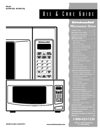 Kitchenaid Microwave Oven Kcms185j Kcms145j Use Care Guide