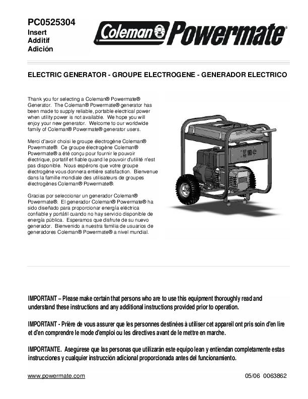 coleman powermate 400 watt power inverter manual