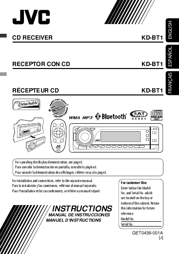 search kd user manuals manualsonline com rh manualsonline com JVC CD Receiver Manual jvc kd-bt1 manual pdf