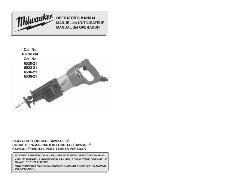 milwaukee orbital super sawzall manual