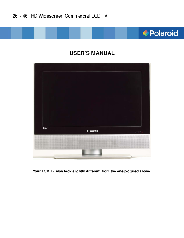 search polaroid polaroid lcd sdtv user manuals manualsonline com rh tv manualsonline com polaroid tlx-04240b service manual polaroid tlx-04240b manual