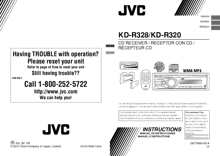 Jvc kd r320 instruction manual