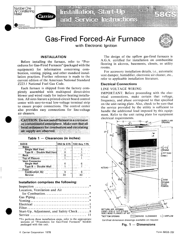 Carrier Furnace 58gs User U0026 39 S Guide