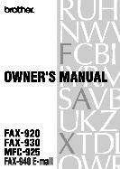 Brother Owner's Manual Fax Machine FAX-920, FAX-930, MFC-925, FAX-940 E-mail