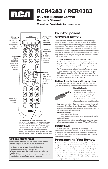 ... literature rca universal remote control owner s manual type manual