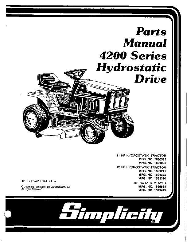 Small Engines (Lawn Mowers, etc.): Toro hydrostatic drive