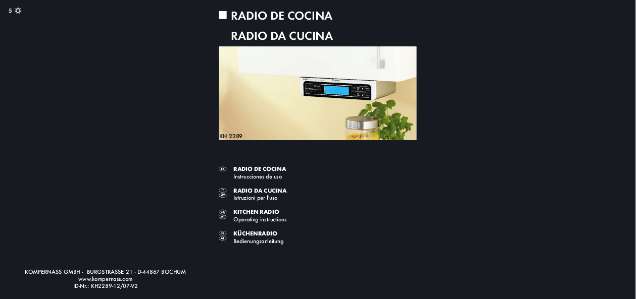 Top Kompernass Kitchen Radio Operating Instructions 1259 x 593 · 90 kB · png
