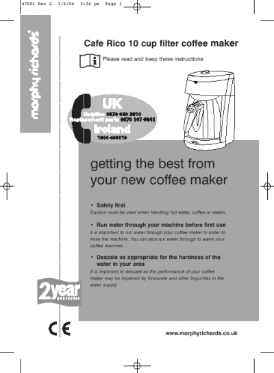Morphy Richards Coffee Maker Problems : Cafe Rico 10 cup filter coffee maker instructions 47001 ManualsOnline.com