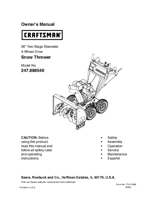 Craftsman Electric Chainsaw User Manual