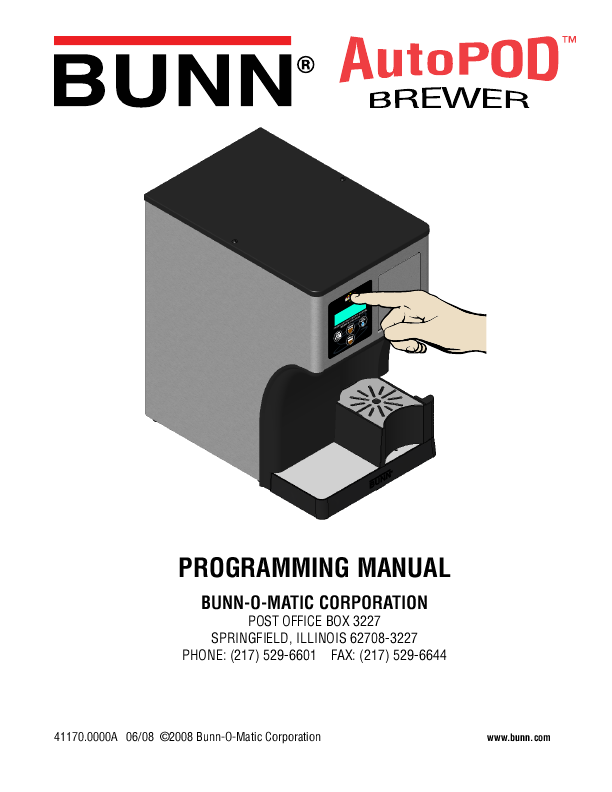 Bunn Coffee Maker Programming : USE AND CARE OF YOUR Coffee Brewer ManualsOnline.com