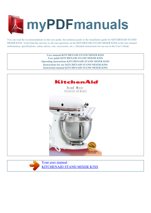 kitchenaid artisan user manual manuals library for free rh 4free articles com kitchenaid user manual ksrg25fkss15 kitchenaid user manual lift mixer ksm5