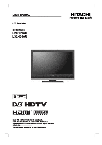 search hitachi hitachi lcd hdtv user manuals manualsonline com rh tv manualsonline com Sony STR De475 Manual Hitachi TV Service Manual