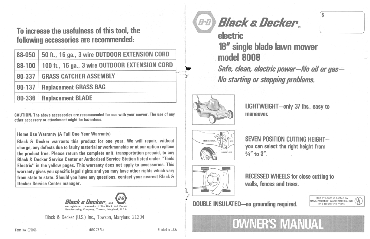black and decker lawn mower manual