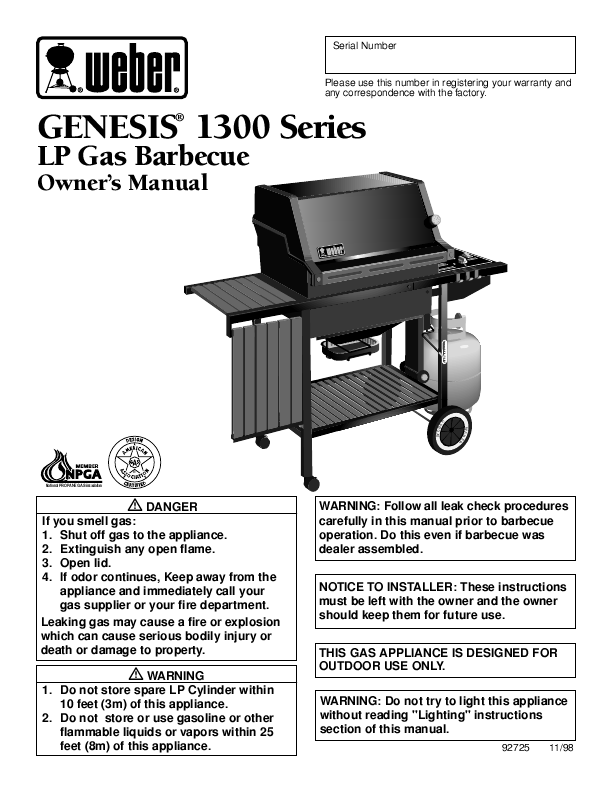 weber gas barbecue instructions