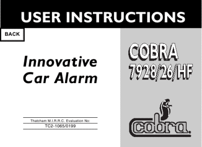 search cobra cobra car alarm user manuals manualsonline com rh manualsonline com cobra 4600 alarm user manual Car Alarm