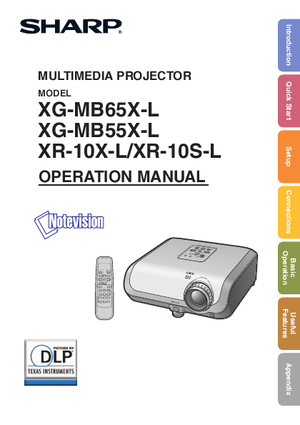 search sharp sharp projector user manuals manualsonline com rh manualsonline com Sharp XV-Z9000U Manual Sharp Projector Support