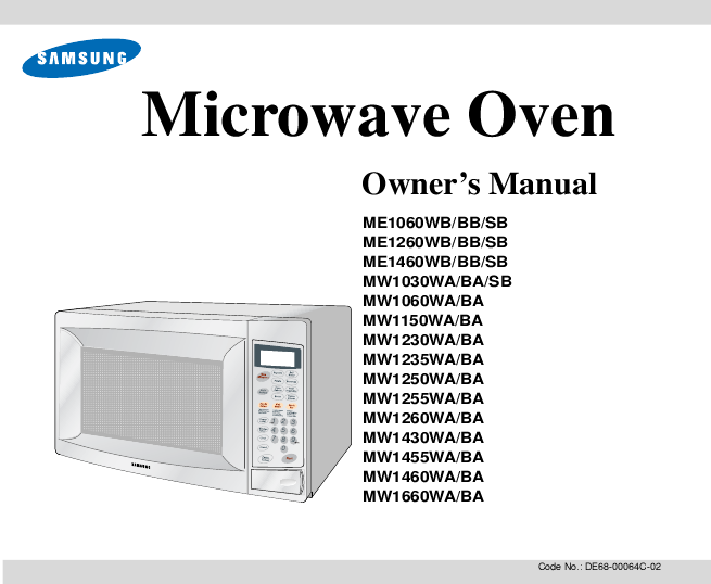 Samsung Ce1071 User Manual Mw1255wa Microwave Oven Search Convection Manuals Manualsonline