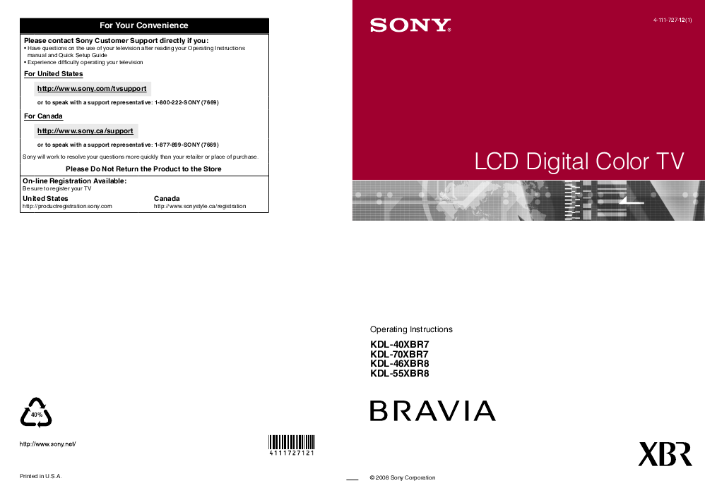 SONY KDL-32S3000 MANUAL - Retrevo
