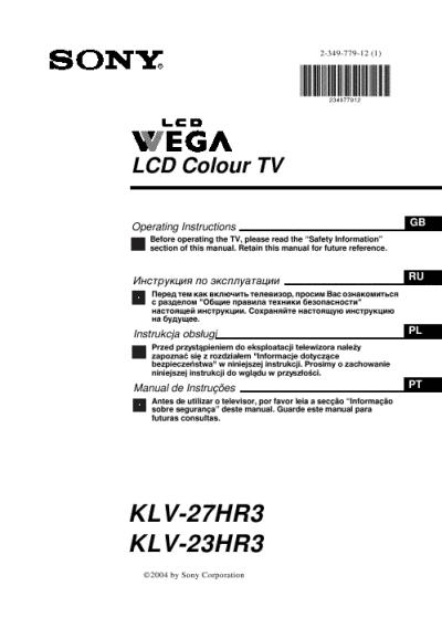 Sony KDL40V3000 KDL46V3000 Operating Instructions Manual
