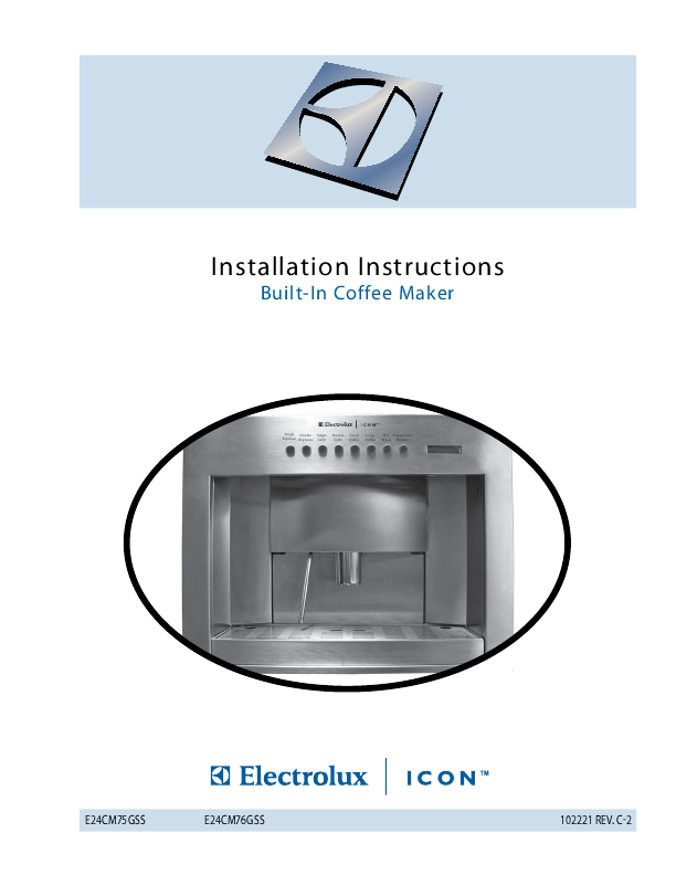 Electrolux Coffee Maker Manual : Electrolux Coffeemaker E24CM75GSS User s Guide ManualsOnline.com