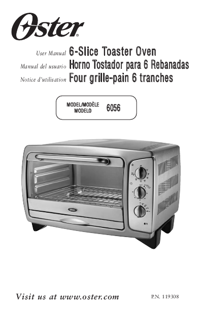oster 6 slice toaster oven manual