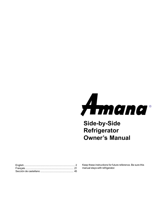 search manual user manuals manualsonline com rh portablemedia manualsonline com amana side by side refrigerator ice maker parts amana side by side refrigerator parts