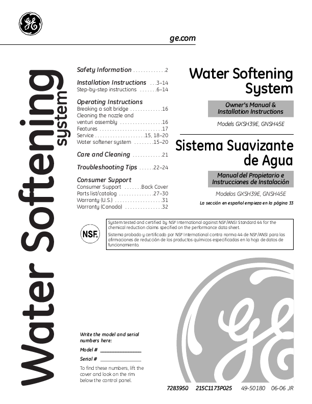 Page: 1 wwvv . GEAppliances . com Safety Information . . . . . . . . . . 2 Water Softening Installation Instructions . . _ 3 - 1 _ 2 Step - by - step instructions